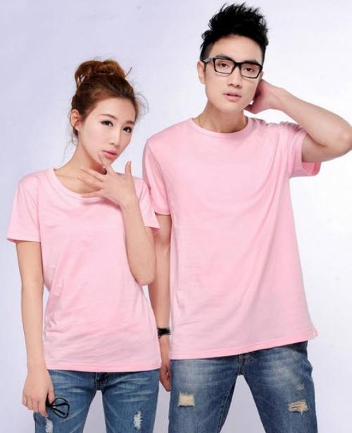 áo thun tron  màu hồng